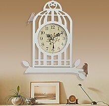 ZHUNSHI Vogelkäfig Wand Uhr Garten Mode Uhren kreative Wohnzimmer Uhr Uhr stumm Wanduhren,16 Zoll,Hellbraun