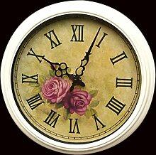 ZHUNSHI Wand Uhr Garten weiß kleine Runde Zhong Tieyi Rom auf europäisch