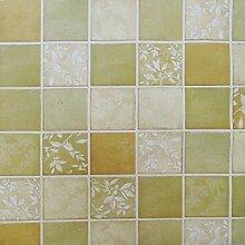 ZPXLGW Badezimmer Mosaik Selbstklebende Tapete Tapetenkleister Wasserdicht Küche Bad Aufkleber 120 Cm /47.2 Zoll * Länge 100 Cm /39.4 Zoll,Green