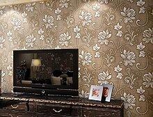 ZPXLGW Europäische Tapete Ein Vliesstoff Mit Wasser Gewaschen Dick Cloud-dimensional 3D Wallpaper Schlafzimmer Wohnzimmer Hintergrund Zu 0 53 M (20 8 ') X 10 M (393') = 5 3 M2 (57 Sq Ft),SilkBrown