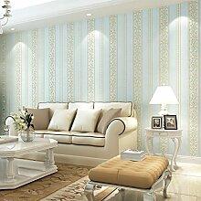 ZPXLGW Europäischer Vliesstoff AB Mit Tapeten Prägungen Wohnzimmer Schlafzimmer TV Hintergrund Tapete 3D0.53 M (1 73 ') X 10 M (32 8') = 5 3 M2 (57 Sq Ft),BVersionOfLightBlue6012