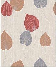 ✔✔ rasch Tapete Vermont 308235 Creme Grau , Creme , Rot , Blau , Braun Blätte