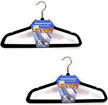 (0037) 10 Stk. Kleiderbügel mit Steg Anti-Rutsch Samtkleiderbügel schwarz