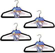 (037) (20 stk.) Kleiderbügel mit Steg Anti-Rutsch Samt Kleiderbügel Garderobenbügel Schwarz