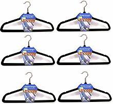 (037) (30stk.) Kleiderbügel mit Steg Anti-Rutsch Samt Kleiderbügel Garderobenbügel Schwarz