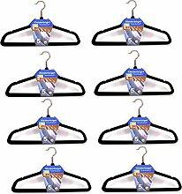 (037) (40stk.) Kleiderbügel mit Steg Anti-Rutsch Samt Kleiderbügel Garderobenbügel Schwarz