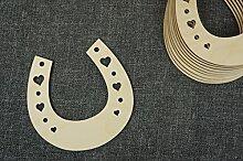 (10SP) Holz-Hufeisen mit Herz Halbkreis Formen