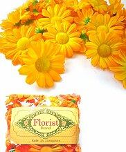 (100) Seide gelb orange Gerbera Daisy Blütenköpfe, 4,4cm Künstliche Blumen Margeriten Haaraccessoires für Hochzeit Blumen Zubehör machen Haarschmuck Headbands Kleid