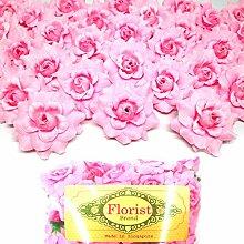 (100) Seide rosa Roses Blume Kopf–4.4cm–künstliche Blumen Haaraccessoires für Hochzeit Blumen Zubehör machen Haarschmuck Headbands Kleid