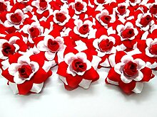 (100) Seide Weiß Rot Rosen Kopf–4,4cm–künstliche Blumen Haaraccessoires für Hochzeit Blumen Zubehör machen Haarschmuck Headbands Kleid