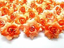 (100) Seide Zwei Ton orange Roses Blume