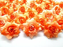 (100) Zwei Ton orange Rosen Seide Blume Kopf–4,4cm–künstliche Blumen Haaraccessoires für Hochzeit Blumen Zubehör machen Haarschmuck Headbands Kleid