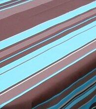 #1003 Gartentischdecke Abverkauf Bunte Lotus Rund 160 cm Linien Türkis Braun mit Lotus Effekt ( Wasserabweisend ) Tischdecke Tischwäsche für Garten, Balkon, Küche …. von DecoHometextil