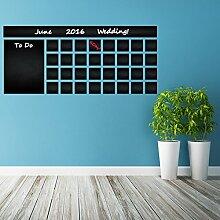 (100x 44cm) Tafel Vinyl Wand Aufkleber Kalender mit To Do Liste/Kreidetafel radierbar Wandbild/Monatsplaner Aufkleber für Zeichnen + Buntstifte Box