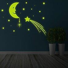 (100x 74cm) Glowing Vinyl Wand Aufkleber Mond mit Sterne Sky/Glow in the Dark Art Decor Aufkleber/& # x421; rescent Leuchtziffern Wandbild Kinder Raum + Gratis Aufkleber Geschenk macht.