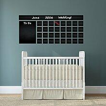 (160x 71cm) Tafel Vinyl Wand Aufkleber Kalender mit To Do Liste/Kreidetafel radierbar Wandbild/Monatsplaner Aufkleber für Zeichnen + Buntstifte Box