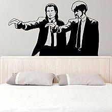 ( 160x98 cm ) Banksy Vinyl Wand Aufkleber Pulp Fiction Graffiti / Jungs mit Banane Pistolen / Straßen Graffiti aufkleber / Zwei Herren Abendessen Jacken Aufkleber Geschenk