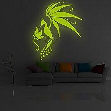 (169x 200cm) Glowing Vinyl Wand Aufkleber Fairy Tail Vogel/Glow in the Dark Art Decor Aufkleber/Fantasy leuchtendes Wandbild Kinder Raum + Gratis Aufkleber Geschenk macht.