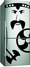 (17x 40cm) Vinyl Kühlschrank Aufkleber Viking Face/Wikinger mit Axt und Schild Art Decor Aufkleber/Son Of Odin Wandbild + Gratis zufällige Aufkleber Geschenk