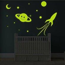 (180x 122cm) Glowing Vinyl Wand Aufkleber Planet, Rocket, Sterne/Glow in the Dark Aufkleber/& # x421; rescent Leuchtziffern Wandbild Kids, Baby Raum + Gratis Aufkleber Geschenk macht.