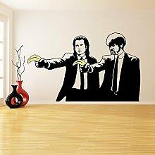 ( 180x110 cm ) Banksy Vinyl Wand Aufkleber Pulp Fiction Graffiti / Jungs mit Farbe Banane Pistolen / Graffiti aufkleber / Zwei Herren Abendessen Jacken Aufkleber Geschenk