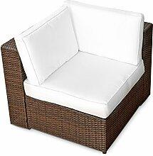(1er) Polyrattan Lounge Möbel Eck Sessel braun - Gartenmöbel (1er) Polyrattan Lounge Eck Sessel, (1er) Polyrattan Lounge Eck Sofa, (1er) Polyrattan Lounge Eck Stuhl - durch andere Polyrattan Lounge Gartenmöbel Elemente erweiterbar