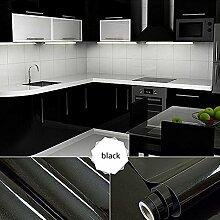 [2 Rollen] AuraLum® 61cm x 5m Hochglanz Selbstklebend Küchenschrank-Aufkleber Küchenfolie Refurbished Küchenschränke Kleiderschrank PVC Aufkleber Folie Möbel Schrank Tür Papier für Wandplakate - Schwarz