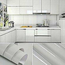 [2 Rollen] AuraLum® 61cm x 5m Hochglanz Selbstklebend Küchenschrank-Aufkleber Küchenfolie Refurbished Küchenschränke Kleiderschrank PVC Aufkleber Folie Möbel Schrank Tür Papier für Wandplakate - Grau