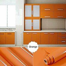 [2 Rollen] AuraLum® 61cm x 5m Hochglanz Selbstklebend Küchenschrank-Aufkleber Küchenfolie Refurbished Küchenschränke Kleiderschrank PVC Aufkleber Folie Möbel Schrank Tür Papier für Wandplakate - Orange