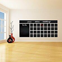 (200x 88cm) Tafel Vinyl Wand Aufkleber Kalender mit To Do Liste/Kreidetafel radierbar Wandbild/Monatsplaner Aufkleber für Zeichnen + Buntstifte Box