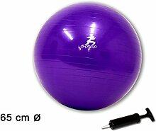 (216) Gymnastikball Sportball Fitnessball Sitzball Yogaball Bürostuhl Ball inkl Pumpe (ca. Ø 65 cm Lila)