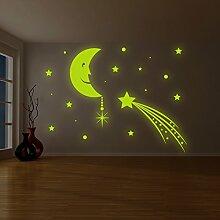 (240x 179cm) Glowing Vinyl Wand Aufkleber Mond mit Sterne Sky/Glow in the Dark Art Decor Aufkleber/& # x421; rescent Leuchtziffern Wandbild Kinder Raum + Gratis Aufkleber Geschenk macht.