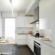 [3 Rollen] AuraLum® 61cm x 5m Hochglanz Selbstklebend Küchenschrank-Aufkleber Küchenfolie Refurbished Küchenschränke Kleiderschrank PVC Aufkleber Folie Möbel Schrank Tür Papier für Wandplakate - Weiß