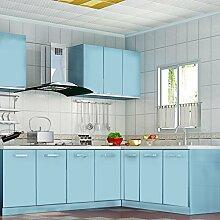 [3 Rollen] AuraLum® 61cm x 5m Hochglanz Selbstklebend Küchenschrank-Aufkleber Küchenfolie Refurbished Küchenschränke Kleiderschrank PVC Aufkleber Folie Möbel Schrank Tür Papier für Wandplakate - Hellblau