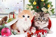 (30x 40cm/30,5x 40,6cm) Schöne Weihnachten Lovely Cats DIY Diamant Gemälde Stickerei Kreuzstich Diamant Mosaik Naht Art Christmas Dekoration