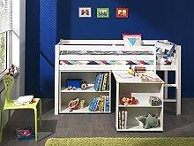 'Autobett picohsbubi14Pino Hochbett mit Schreibtisch und Bibliothek Kiefer massiv weiß