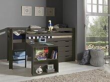 'Autobett picohsbuks15Pino Hochbett mit Schreibtisch und Kommode 4Schubladen Kiefer massiv taupe