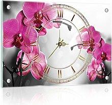 'delester Design cg10155g3Orchidee rosa Wanduhr aus Glas (déco-vitre) Glas mehrfarbig 60x 40x 4cm