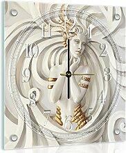 'delester Design cg10232g7Damen mit der Reliefs weißen Wanduhr aus Glas (déco-vitre) Glas bunt 40x 40x 4cm
