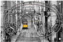 'delester Design cg10330g3Straßenbahn gelb Wanduhr aus Glas (déco-vitre) Glas mehrfarbig 60x 40x 4cm
