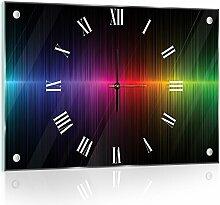 'delester Design cg10441g3Seismogramm Regenbogen Wanduhr aus Glas (déco-vitre) Glas mehrfarbig 60x 40x 4cm