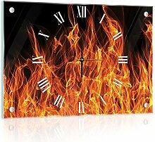 'delester Design cg10442g3Feuer auf Boden schwarz Wanduhr aus Glas (déco-vitre) Glas mehrfarbig 60x 40x 4cm