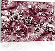 'delester Design cg10577g3Diamant Abstrakt Wanduhr aus Glas (déco-vitre) Glas mehrfarbig 60x 40x 4cm