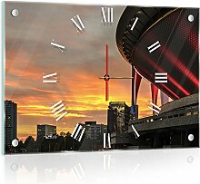 'delester Design cg10618g3Stadt Katowice in Polen Wanduhr aus Glas (déco-vitre) Glas mehrfarbig 60x 40x 4cm