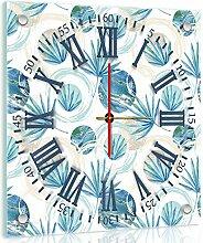 'delester Design cg10746g7Blatt Blaue Wanduhr aus Glas (déco-vitre) Glas bunt 40x 40x 4cm