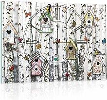 'delester Design cg10950g3YK15Birkenwand Wanduhr aus Glas (déco-vitre) Glas mehrfarbig 60x 40x 4cm
