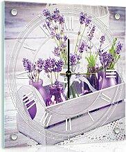 'delester Design cg10975g7lavendelfarben Wanduhr aus Glas (déco-vitre) Glas bunt 40x 40x 4cm
