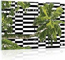 'delester Design cg11148g3palmierier Wanduhr aus Glas (déco-vitre) Glas mehrfarbig 60x 40x 4cm
