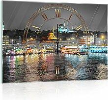 'delester Design cgb10152g3Skyline Wanduhr aus Glas (déco-vitre) Glas mehrfarbig 60x 40x 4cm