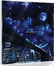 'delester Design cgb10472g7Blick auf die Stadt der Nacht mit Universum in Boden Wanduhr aus Glas (déco-vitre) Glas bunt 40x 40x 4cm